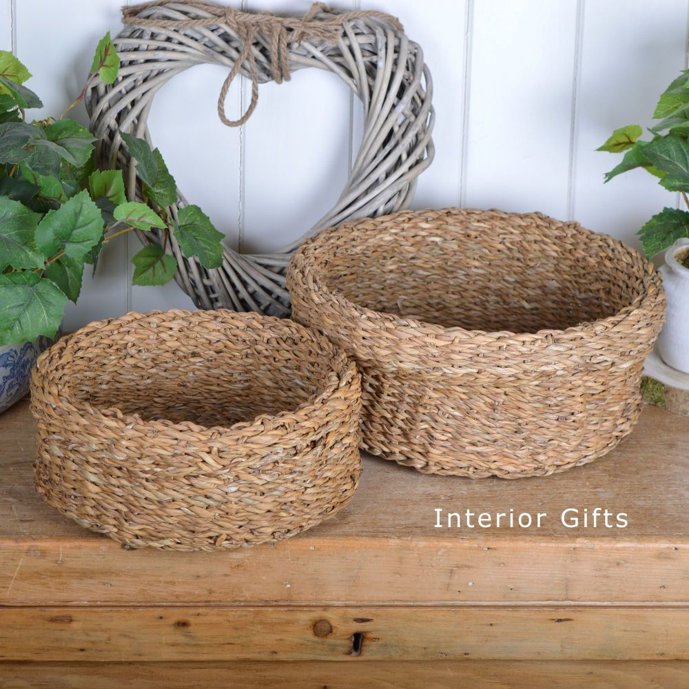 Seagrass Round Low Basket - Set of 2
