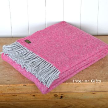 Tweedmill Pink Boa Pure New Wool  Large Throw Blanket