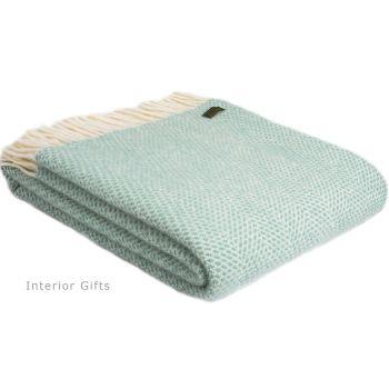 Tweedmill Ocean Green and Cream Honeycomb Weave Pure New Wool Throw Blanket