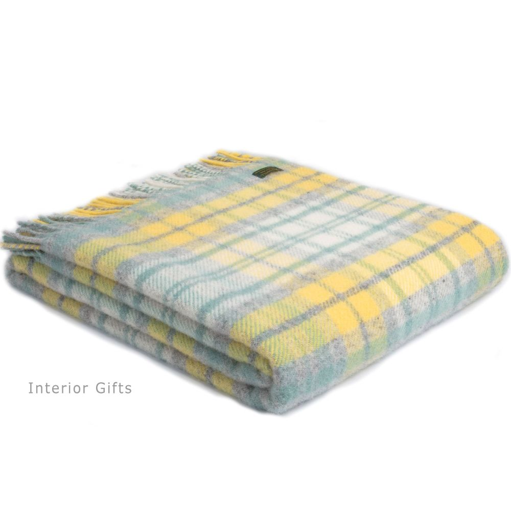 Tweedmill Country Cottage Check Ocean / Yellow Pure New Wool Throw Blanket
