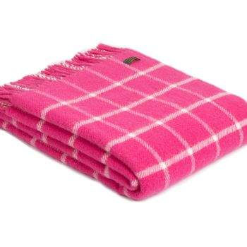 Tweedmill Classic Check Cerise Pink & Chalk Windowpane Knee Rug or Small Blanket Pure New Wool