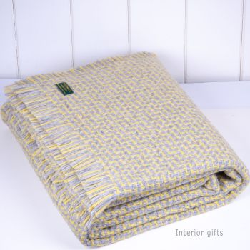 Tweedmill Arden Throw Lemon Yellow & Grey Blanket Pure New Wool
