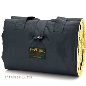 WATERPROOF Backed Wool Burghley Picnic Rug in Honeycomb Yellow with Integral Carry Strap