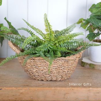Seagrass Round Basket with handles - Small