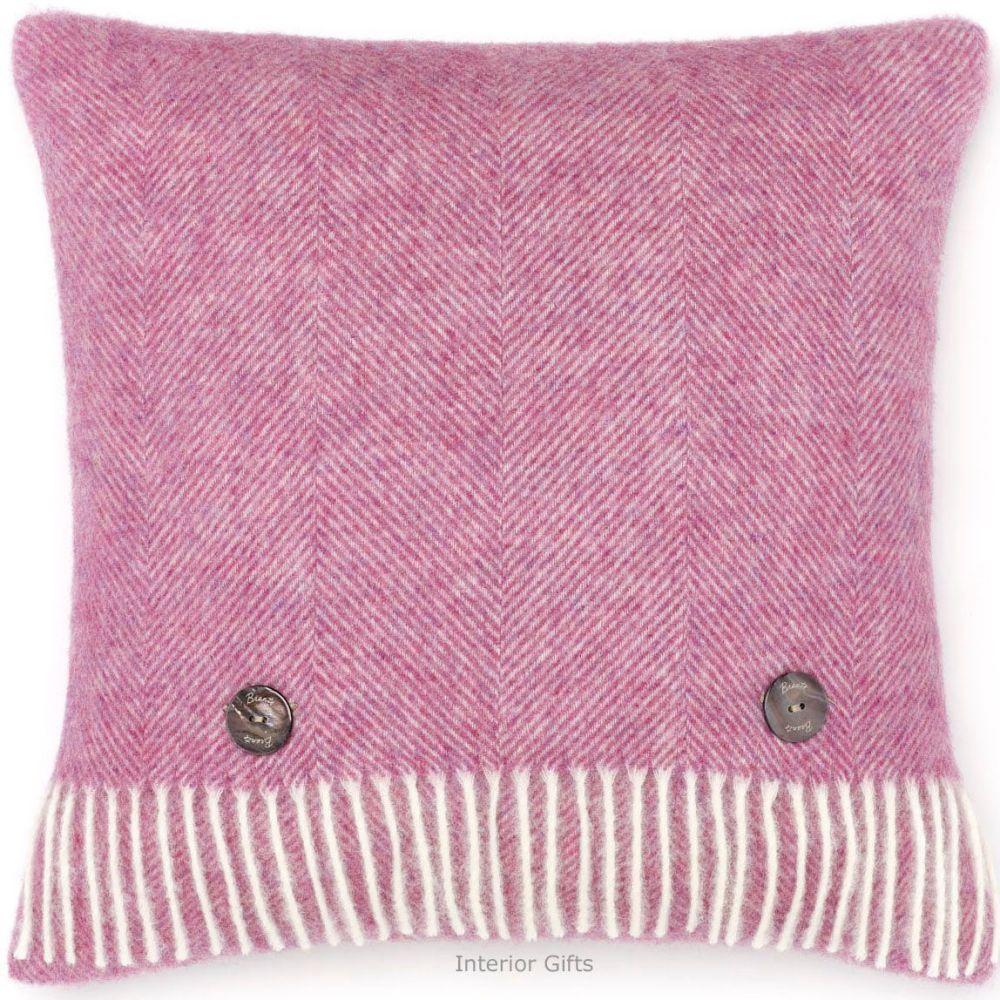 BRONTE by Moon Cushion - Herringbone Pink Lilac Shetland Wool