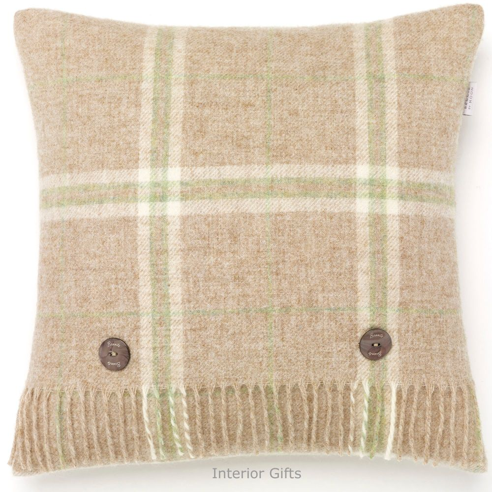 BRONTE by Moon Cushion - Beige Travertline Windowpane Shetland Wool