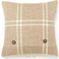 BRONTE by Moon Cushion - Windowpane Beige Travertine Shetland Wool