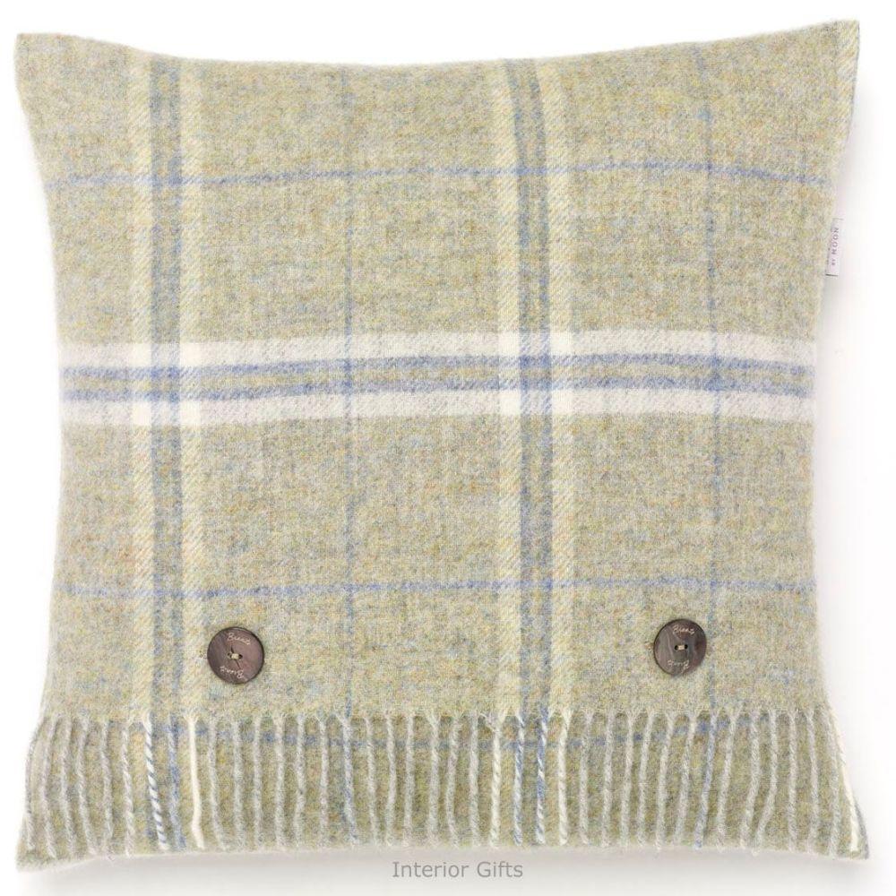 BRONTE by Moon Cushion - Windowpane Green Onyx Shetland Wool