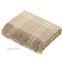 BRONTE by Moon Beige Travertine Windowpane Check Throw in 100% Shetland Wool *NEW*