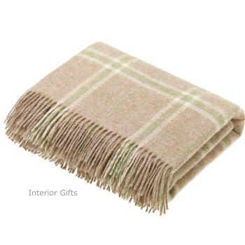 BRONTE by Moon Beige Travertine Windowpane Check Throw in 100% Shetland Wool *NEW*