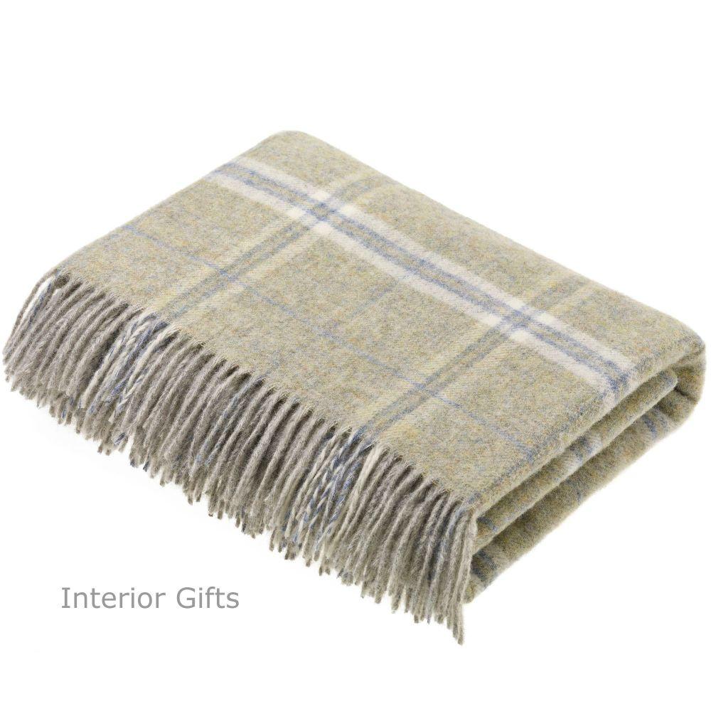 BRONTE by Moon Green Onyx Windowpane Check Throw in 100% Shetland Wool *NEW