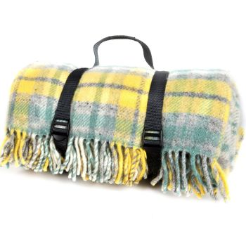 WATERPROOF Backed Wool Picnic DESIGNER Rug / Blanket Yellow & Green Multi  with Practical Carry Strap.