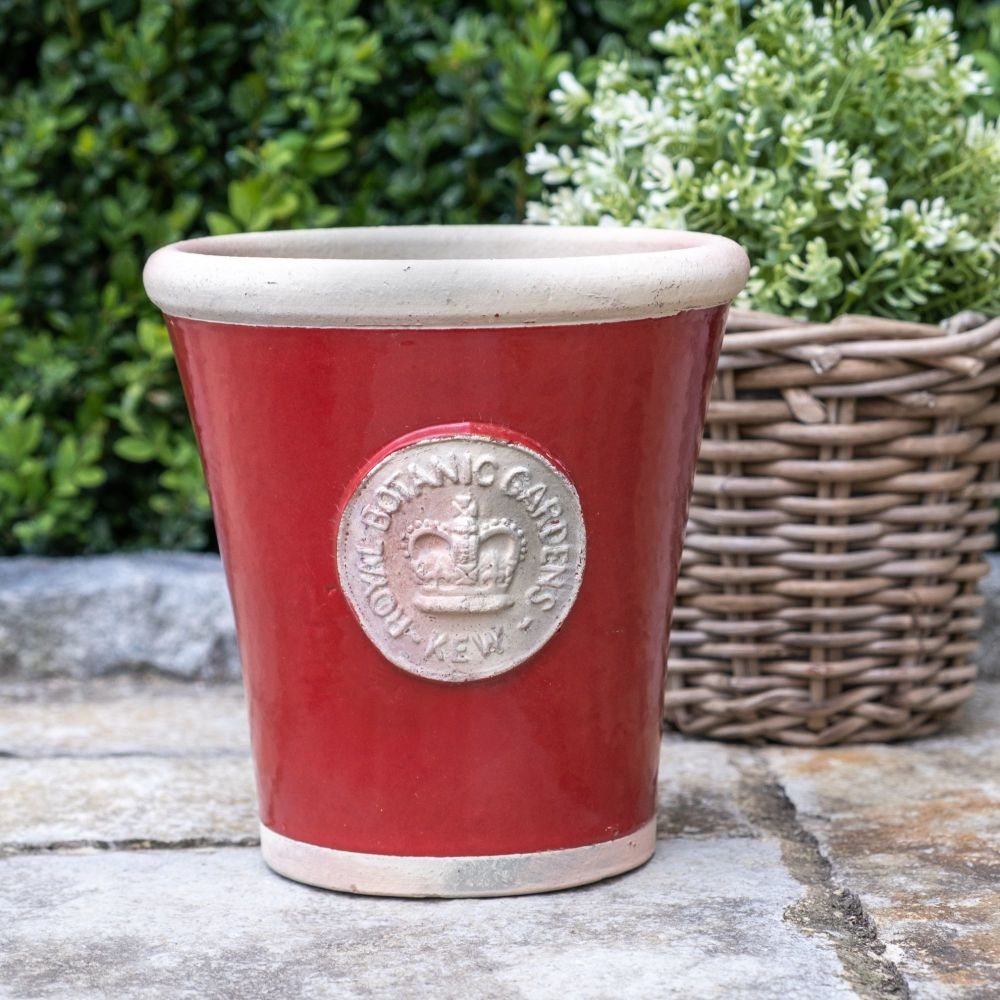 Kew Long Tom Pot in Berry Red - Royal Botanic Gardens Plant Pot - Medium