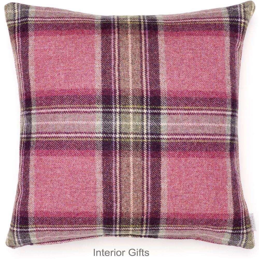 BRONTE by Moon Cushion - Rustic Pink & Blue Check Shetland Wool - 17