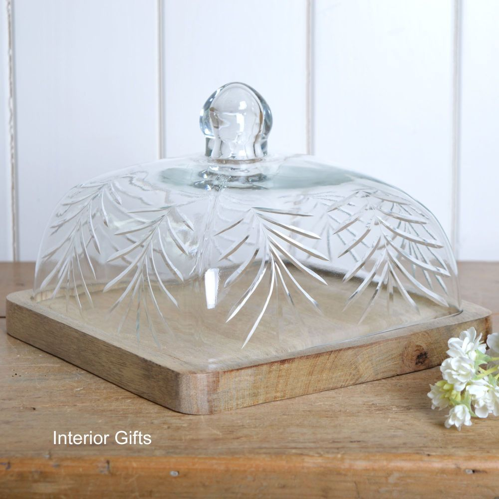 Handcrafted Glass Food Dome and Tray - Square