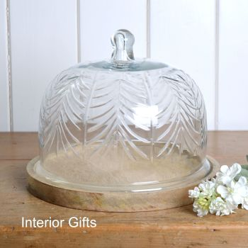 Handcrafted Glass Food Dome and Tray - Round