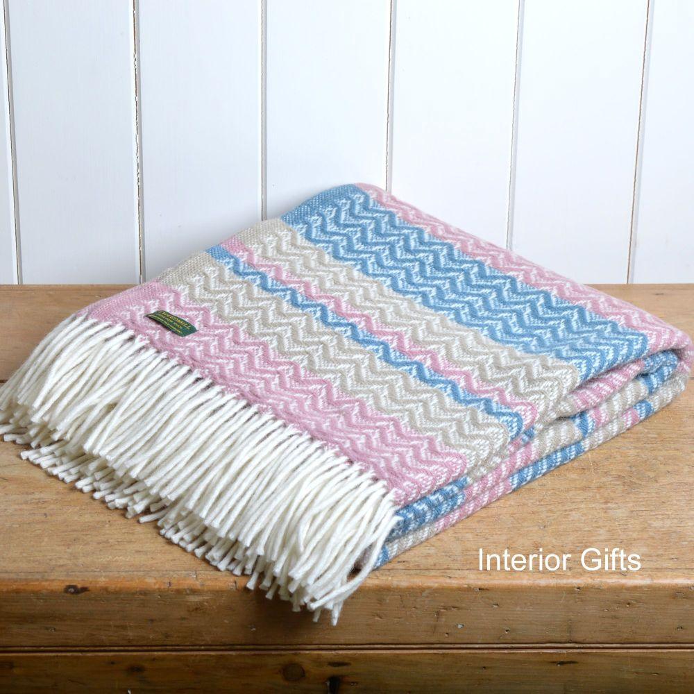 Tweedmill Dusky Pink & Blue Cadence Pure New Wool Throw Blanket