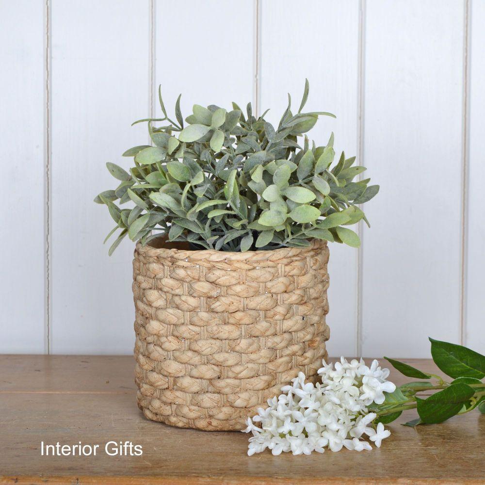 Pottery Basketweave Plant or Flower Pots - Medium 17 cm H