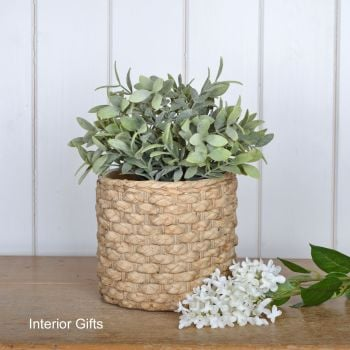Pottery Basketweave Plant or Flower Pots - Medium 17 cm H