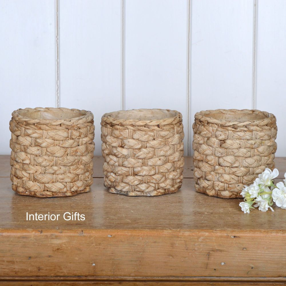 Pottery Basketweave Plant, Herb or Flower Pots - Set of Three
