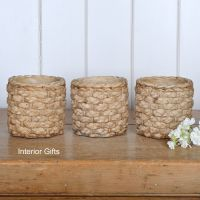 Pottery Basketweave Plant, Herb or Flower Pots - Set of Three 11 cm H