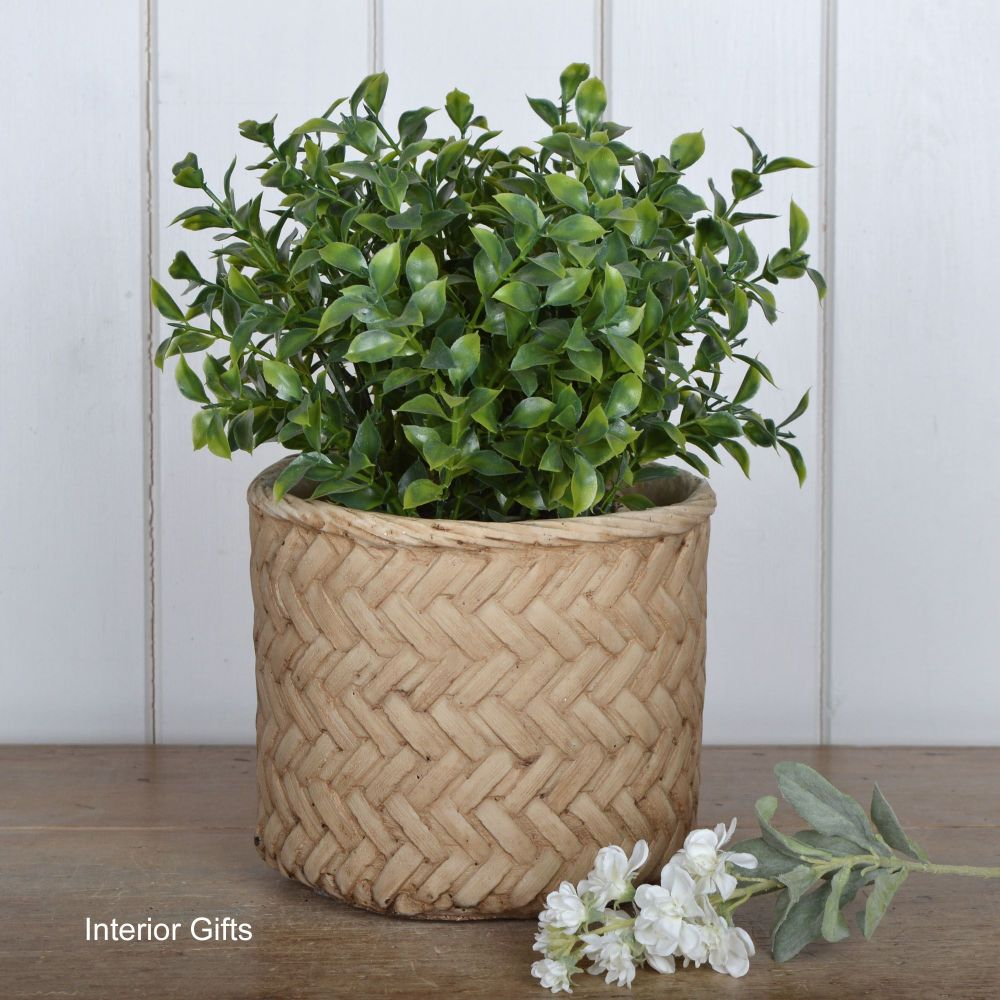 Pottery Lattice Weave Plant or Flower Pots - Medium 17 cm H