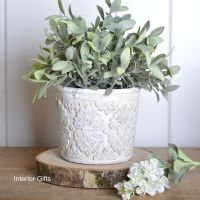 French Antique Cream Plant / Flower Pot - Medium 13 cm H