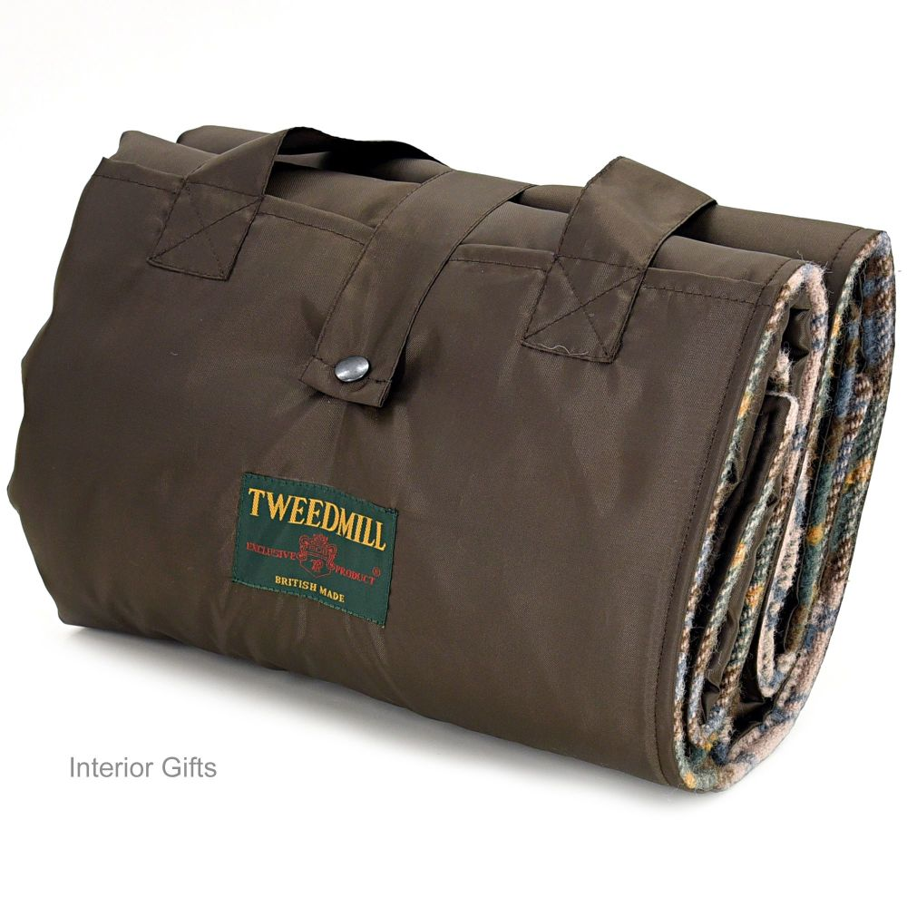 WATERPROOF Backed Wool Burghley Picnic Rug Vintage Check with Integral Carr