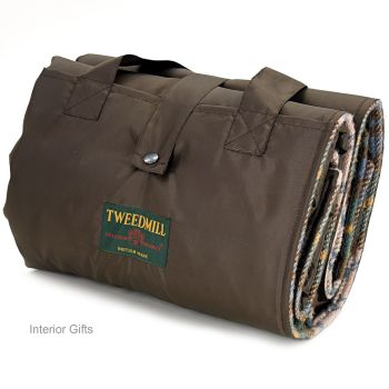 WATERPROOF Backed Wool Burghley Picnic Rug Vintage Check with Integral Carry Strap