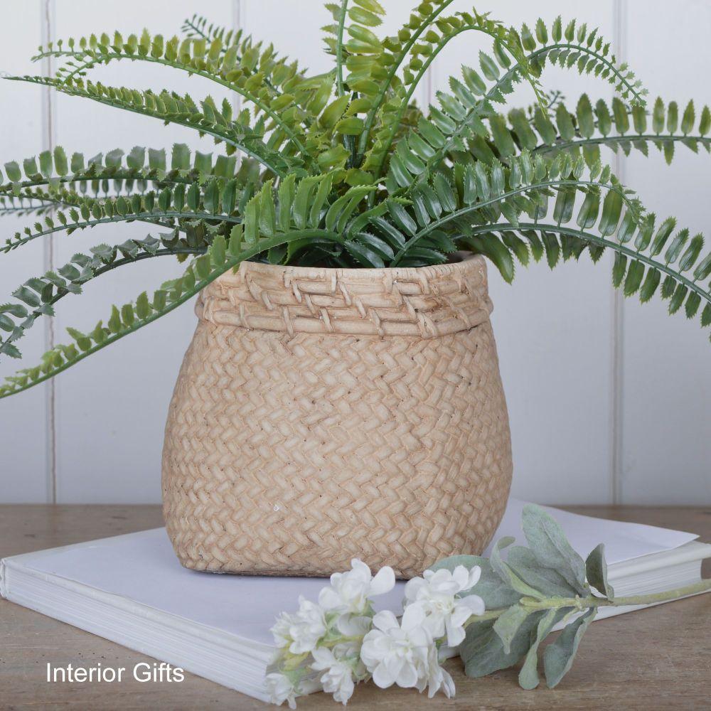 Pottery Flour Sack Plant or Flower Pots - Med 19 cm H