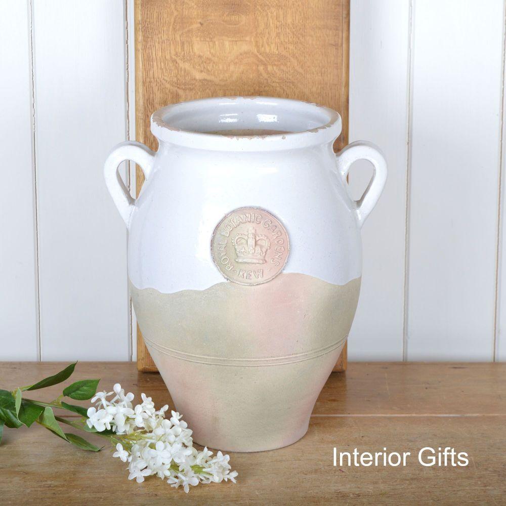 Kew Royal Botanic Gardens Vase with Handles in Old White - Large 35 cm H