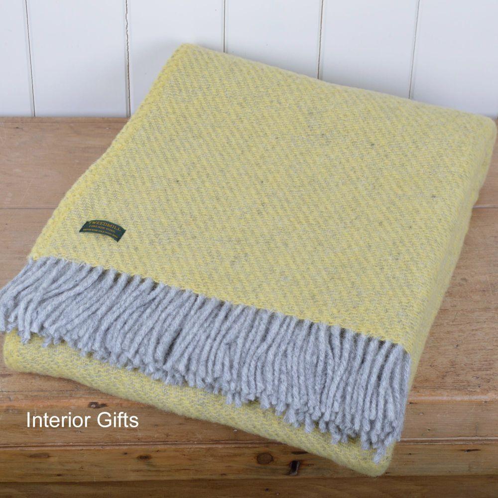 Tweedmill Lemon Yellow Boa Pure New Wool  Large Throw Blanket