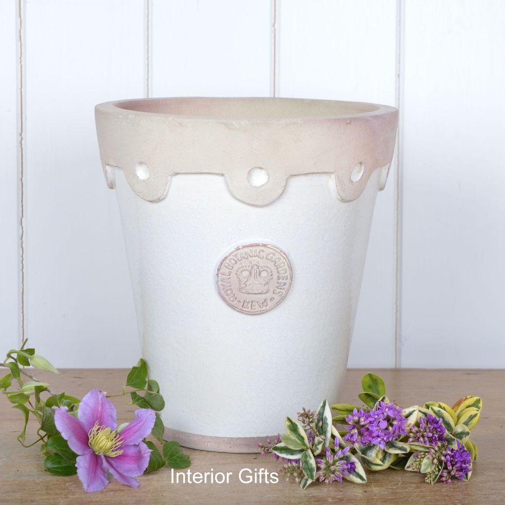 Kew Long Tom Oxford Pot in Ivory Cream - Royal Botanic Gardens Plant Pot -