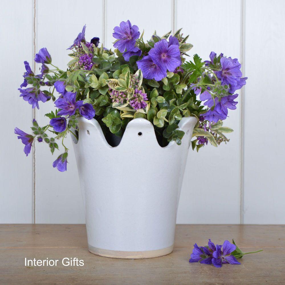 Crown Planter / Plant Pot Handmade in Bone White