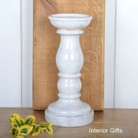Large Pillar Candle Holder Handmade in Old White - Large 34 cm H