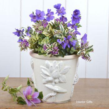 Botanicals Plant Pot Handmade in Ivory Cream - 19 cm H