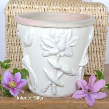 Botanicals Plant Pot Handmade in Ivory Cream - 25 cm H