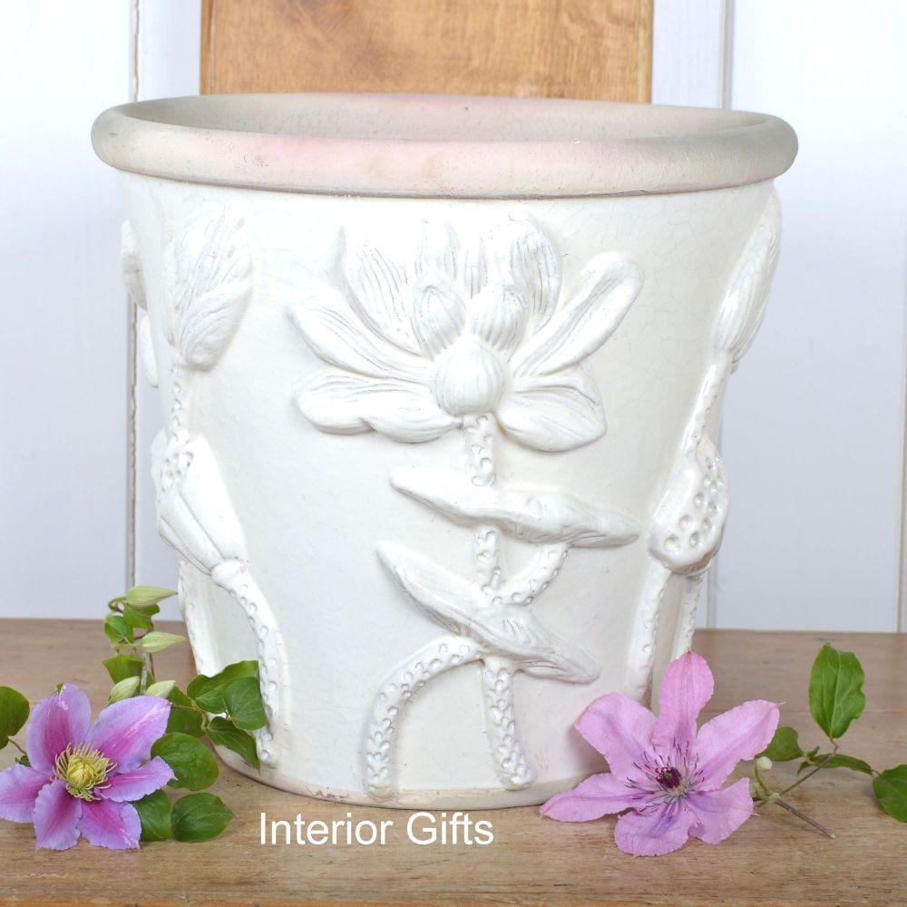 Botanicals Plant Pot Handmade in Ivory Cream - 30 cm H