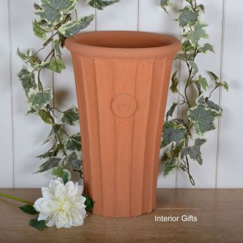 Kew Fluted Flared Tall Vase in Natural Classic Terracotta - 44 cm H