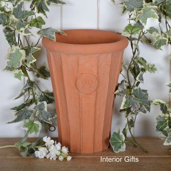Kew Fluted Flared Tall Vase in Natural Classic Terracotta - 32 cm H