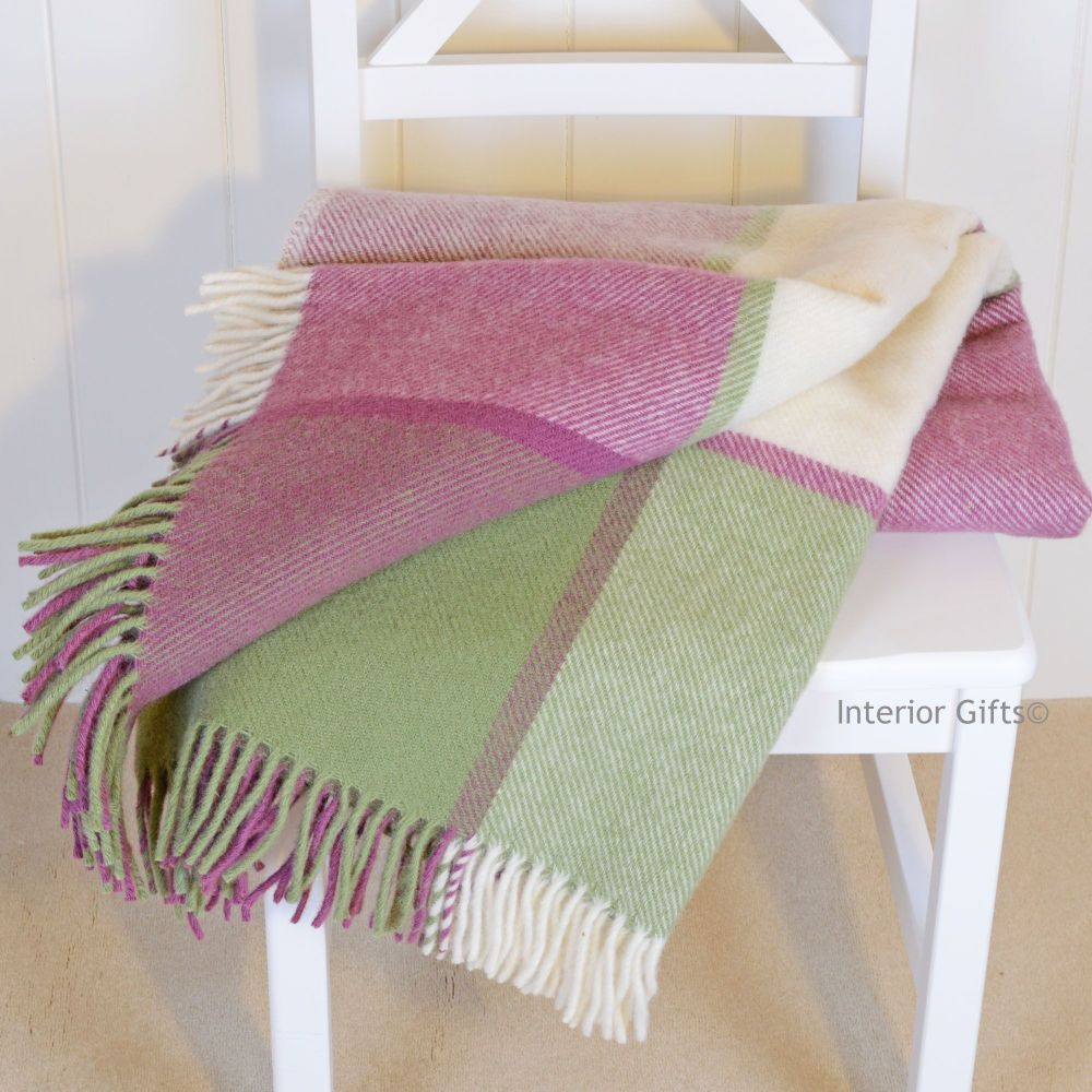 Tweedmill Multi Check Pink & Green Knee Rug or Small Blanket Pure New Wool