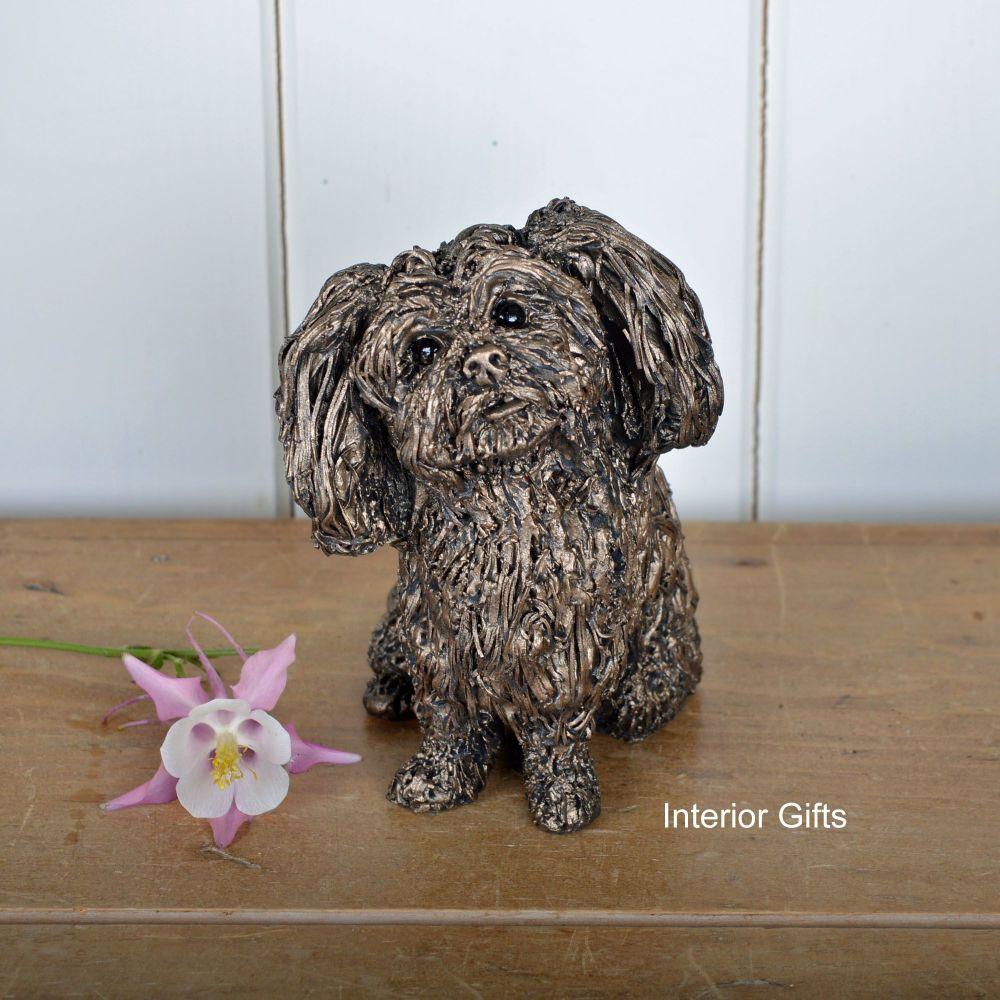 SPROUT - SHI TZU PUPPY DOG Sitting Frith Bronze Sculpture by Veronica Balla