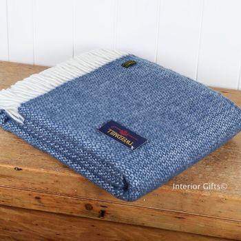 Tweedmill Slate Blue Ascot Knee Rug or Small Blanket Throw Pure New Wool