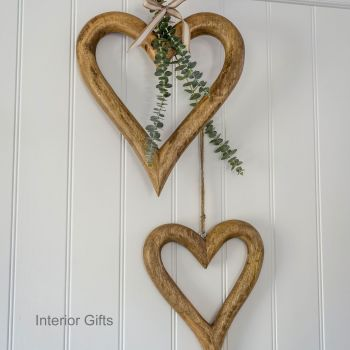 Two Decorative Large Natural Wooden Hanging Hearts