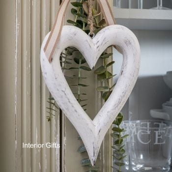 Two Decorative Small White Wooden Hanging Hearts