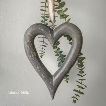 Two Decorative Small Grey Wooden Hanging Hearts