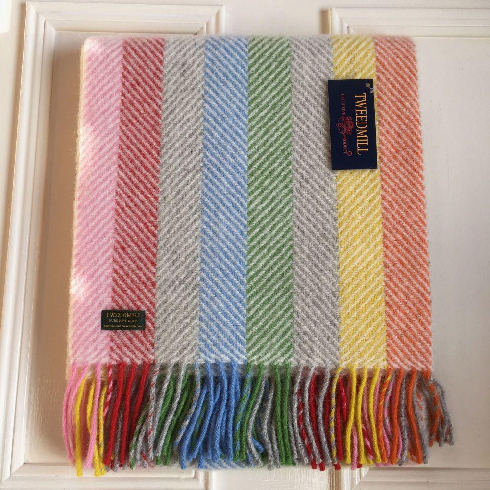 Tweedmill Herringbone Stripe Candy Grey Knee Rug or Small Blanket Pure New