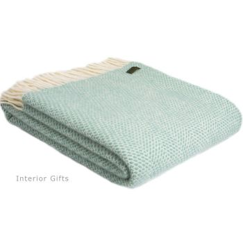 Tweedmill Ocean Green Honeycomb Knee Rug or Small Blanket Throw Pure New Wool