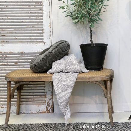 Wooden & Rattan Country Bench / Stool