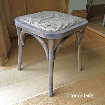 Wooden & Rattan Country Stool